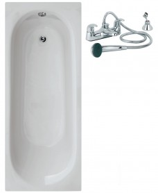 Lotus 1700 x 700 Single Ended Bath - Special Offer* - Includes COSMOS Bath Shower Mixer & Waste