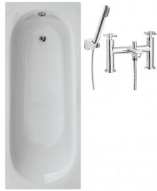 Lotus 1700 x 700 Single Ended Bath - Special Offer* - Includes SERIES C Bath Shower Mixer & Waste
