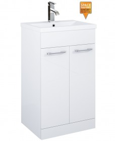 Porto 50cm Slimline Vanity Unit 2 Door White and Basin