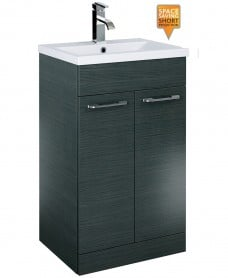 Porto 50cm Slimline Vanity Unit 2 Door Grey and Basin