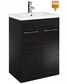 Porto 60cm Slimline Vanity Unit 2 Door Hacienda Black and Basin