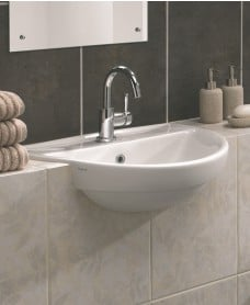 Twyford Refresh Semi Recessed 55cm Basin (1 TH)