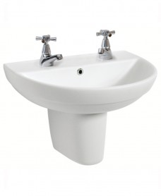 Refresh 500 Basin & Semi Pedestal 2 Tap Hole