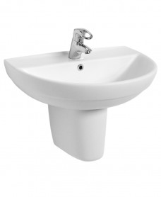 Refresh 600 Basin & Semi Pedestal 1 tap Hole