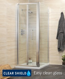 Revive Range 900 Bifold Shower Enclosure with Side panel