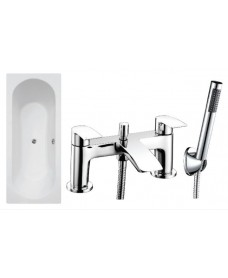 Clover Double Ended Bath - Special Offer* - Includes chrome CORBY Bath Shower Mixer & Waste