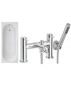 Lotus 1700 x 700 Single Ended Bath - Special Offer* - Includes chrome HARROW Bath Shower Mixer & Waste