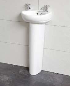 Twyford Refresh Cloakroom 36cm Basin & Pedestal (2TH)