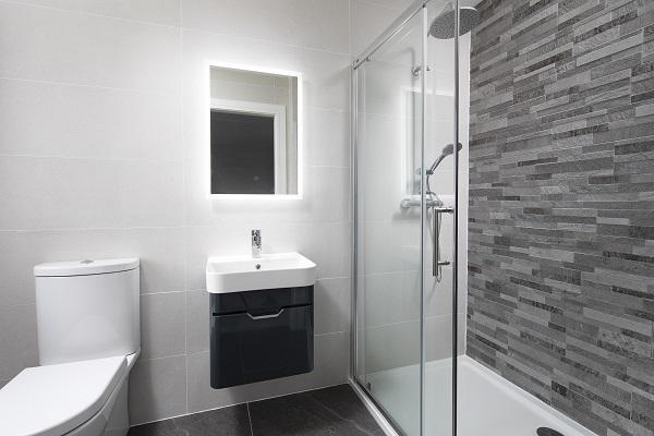 Sott' Aqua Dark Grey Bathroom Vanity Unit and K2 Shower Door