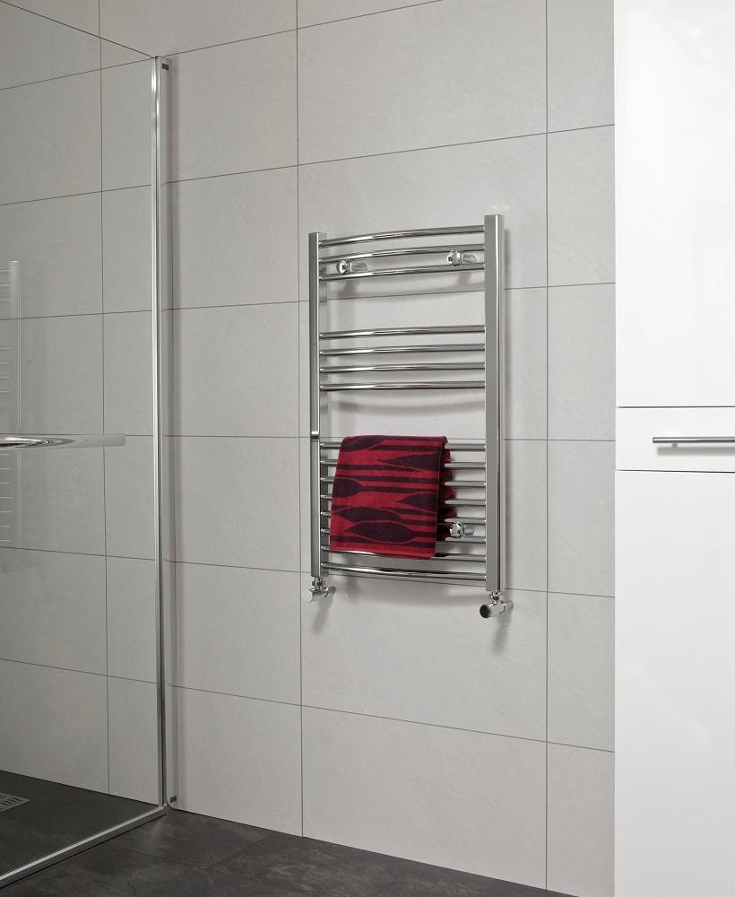 Sonas 800 x 600 Curved Towel Rail Chrome