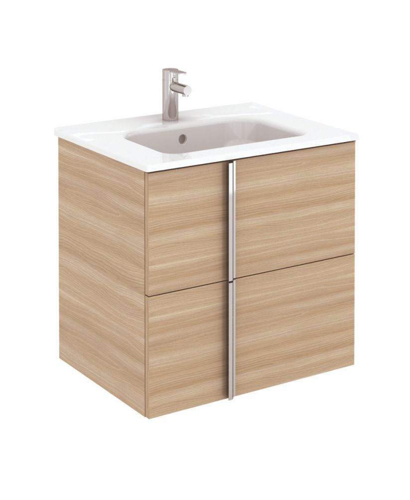Avila Walnut Wall Hung 60 Vanity Unit and SLIM Basin 2 drawer and 30cm Wall Column ** 50% Off While Stocks Last