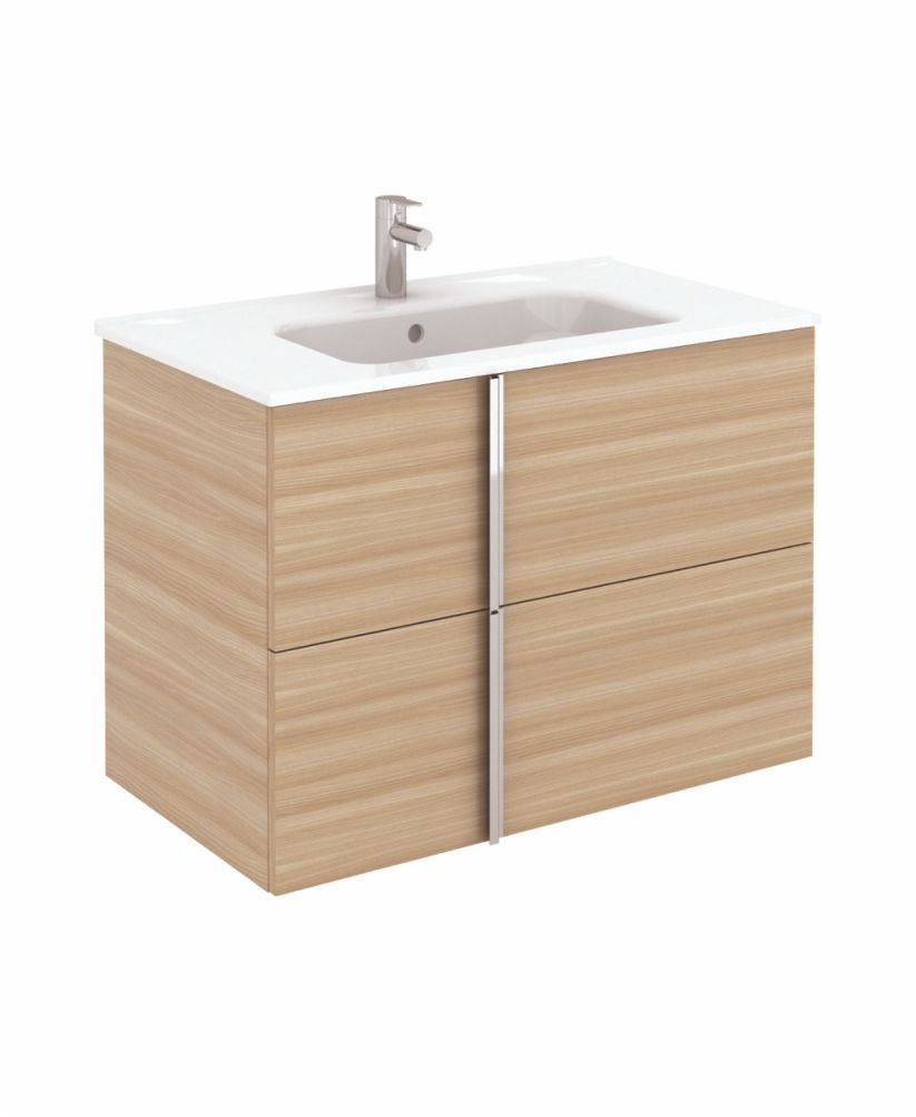 Avila Walnut Wall Hung 80 Vanity Unit and SLIM Basin 2 drawer