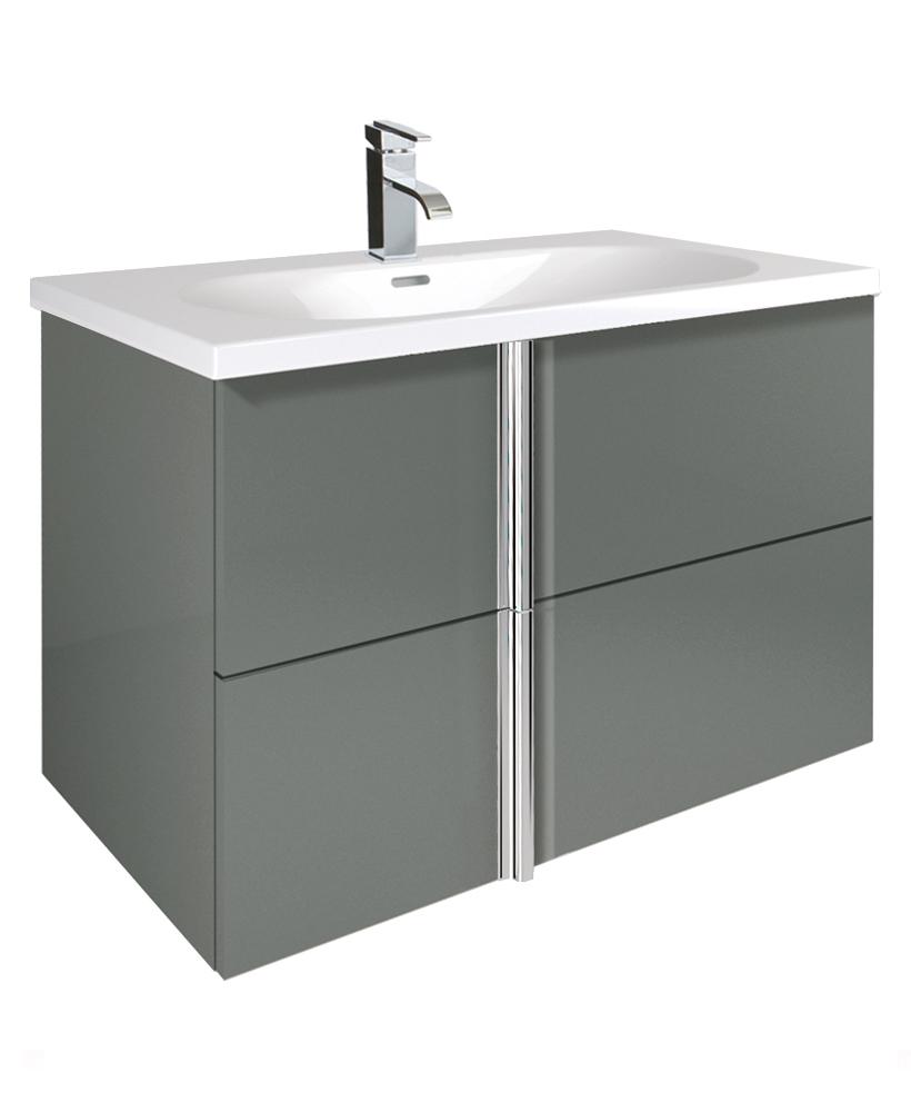 Avila Gloss Grey 80cm Vanity Unit 2 Drawer and Idea Basin