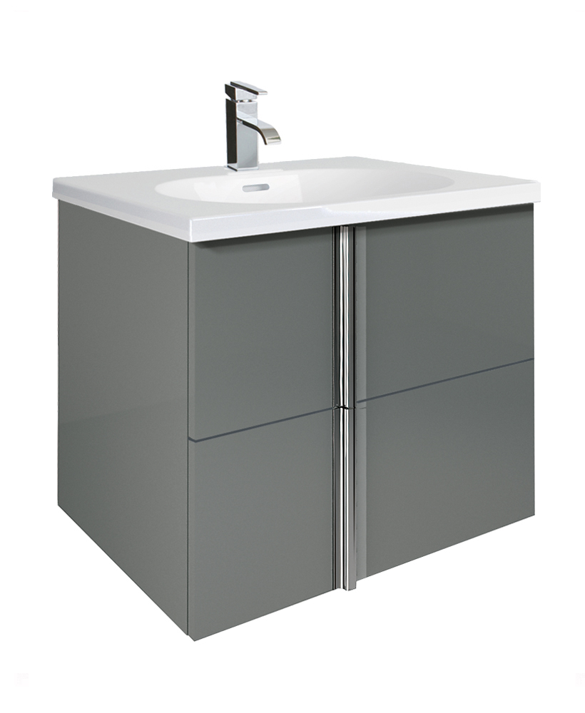Avila Gloss Grey 60cm Vanity Unit 2 Drawer and Idea Basin