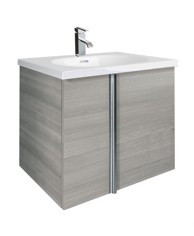 Avila Sandy Grey 2 Door 60cm Wall Hung Vanity Unit and Idea Basin