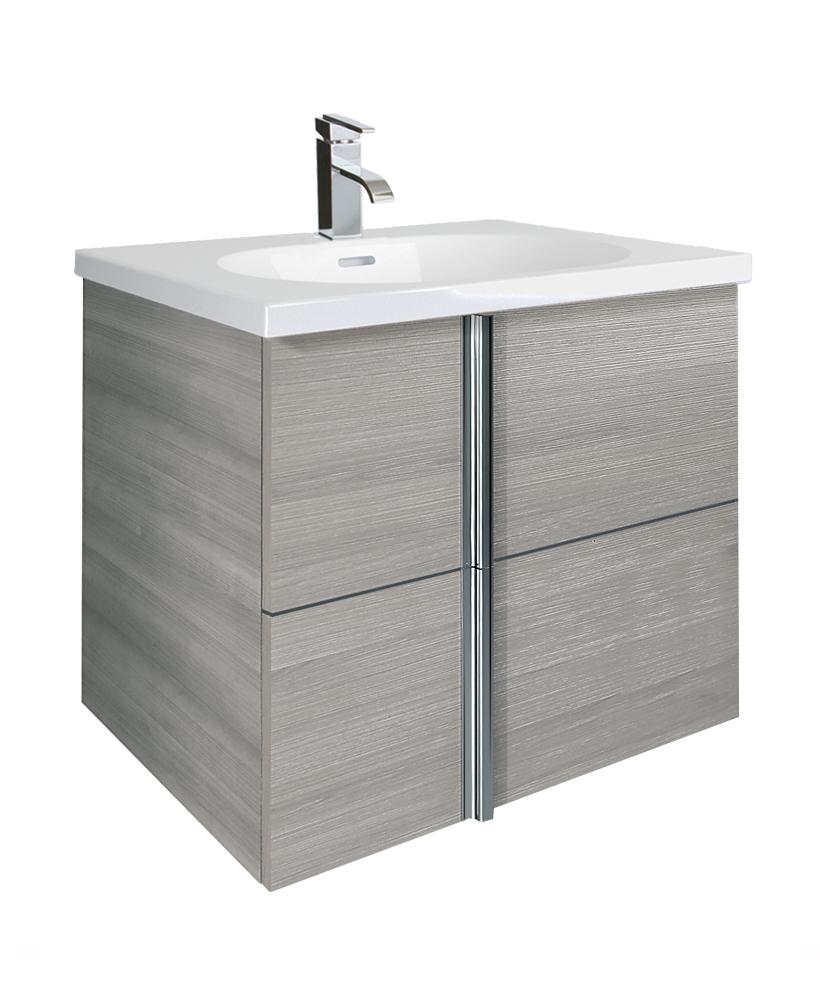 Avila Sandy Grey 2 Drawer 60cm Wall Hung Vanity Unit and Idea Basin