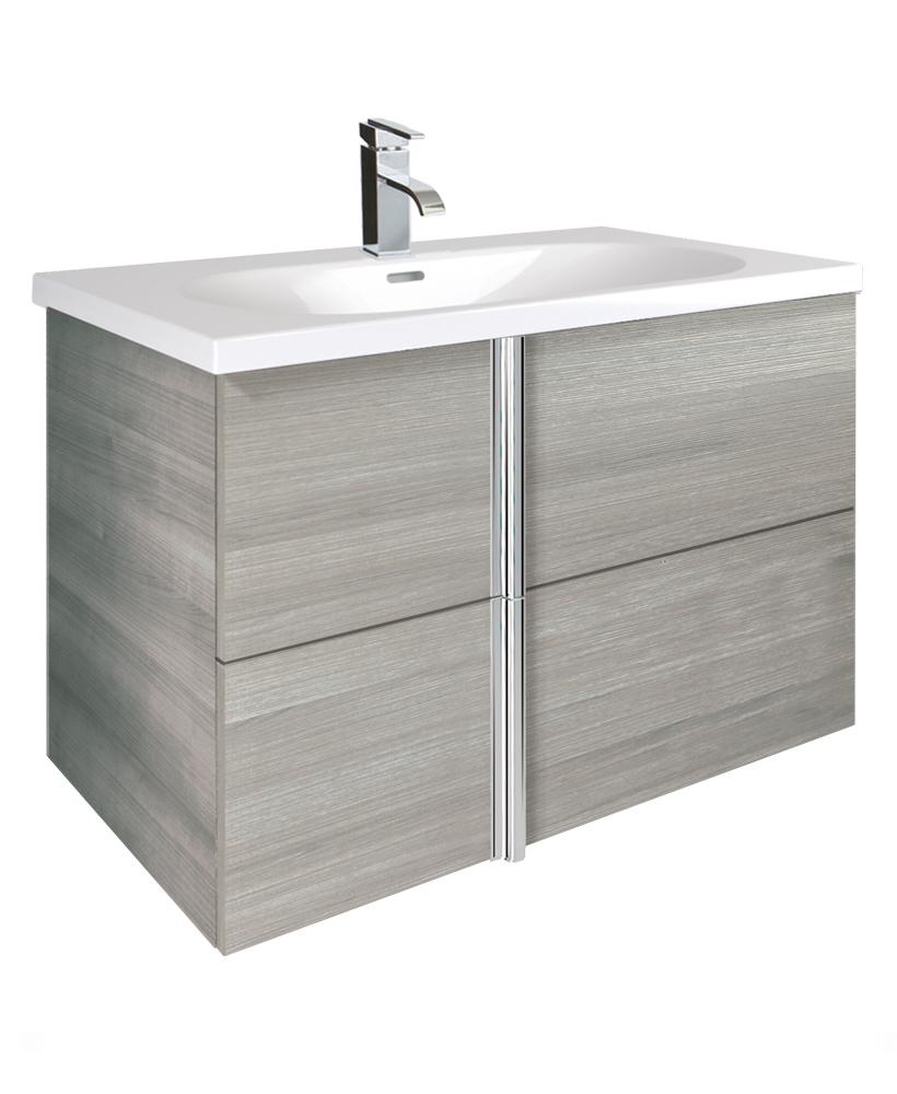 Avila Sandy Grey 2 Drawer 80cm Wall Hung Vanity Unit and Idea Basin