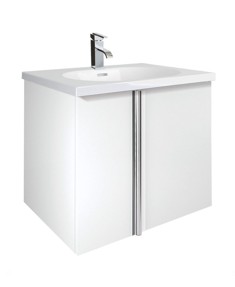 Avila White 2 Door 60cm Wall Hung Vanity Unit and Idea Basin