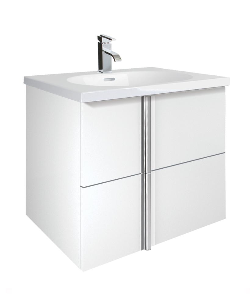 Avila White 2 Drawer 60cm Wall Hung Vanity Unit and Idea Basin