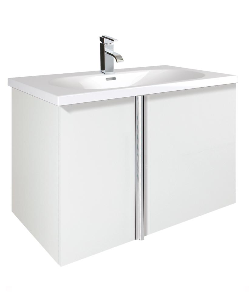 Avila White 2 Door 80cm Wall Hung Vanity Unit and Idea Basin