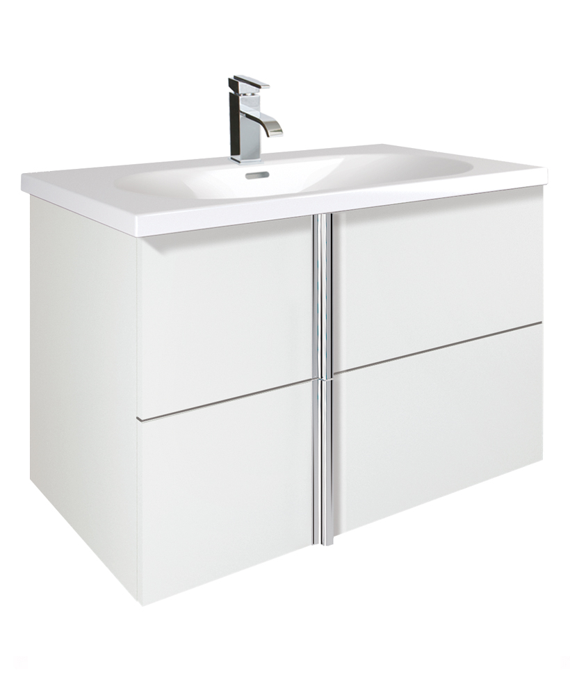 Avila White 2 Drawer 80cm Wall Hung Vanity Unit and Idea Basin