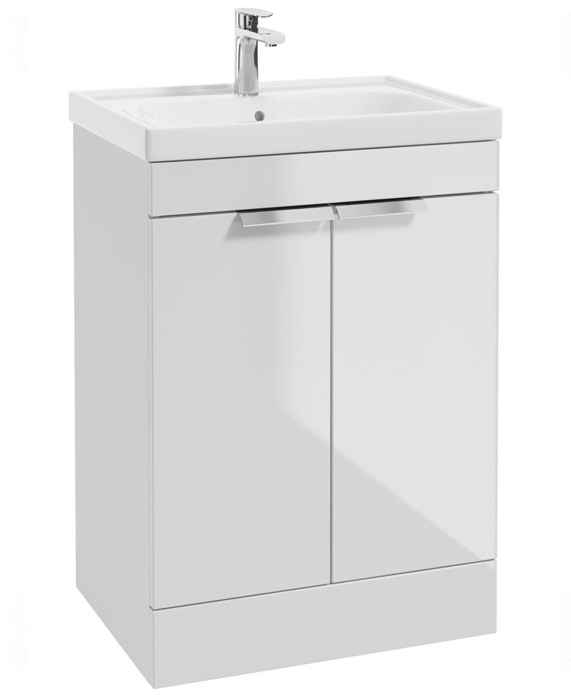Stockholm Gloss White 60cm 2 Door Floor Standing Vanity Unit - Brushed Chrome Handle