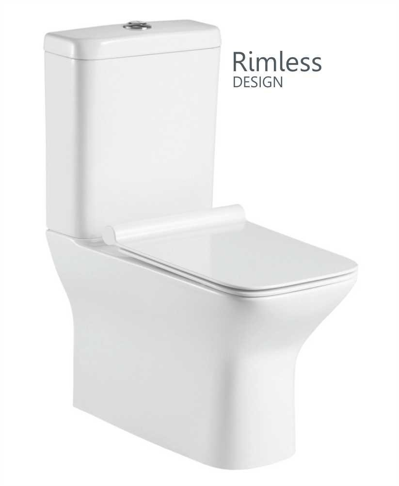 Claire Fully Shrouded Close Coupled Rimless WC with Quick Release Soft Closing SLIM Seat