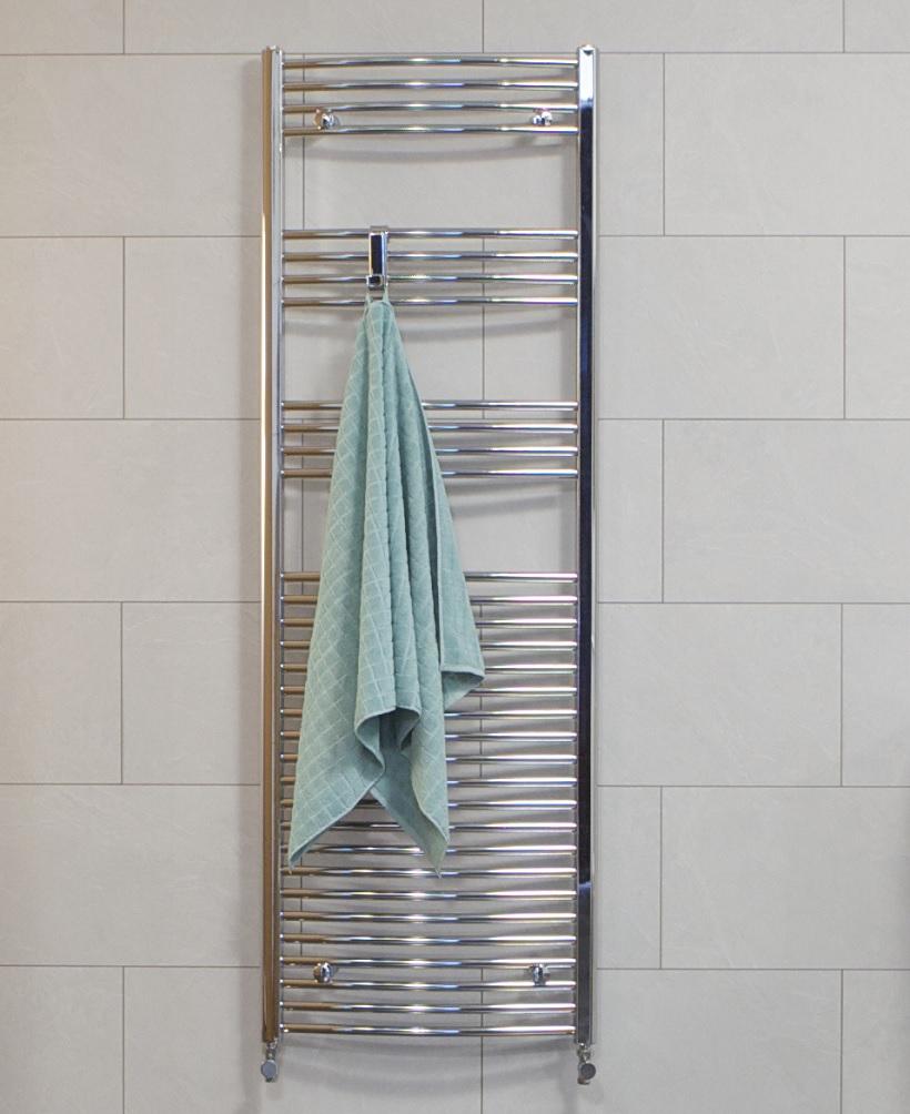 Sonas 1800 x 600 Curved Towel Rail - Chrome