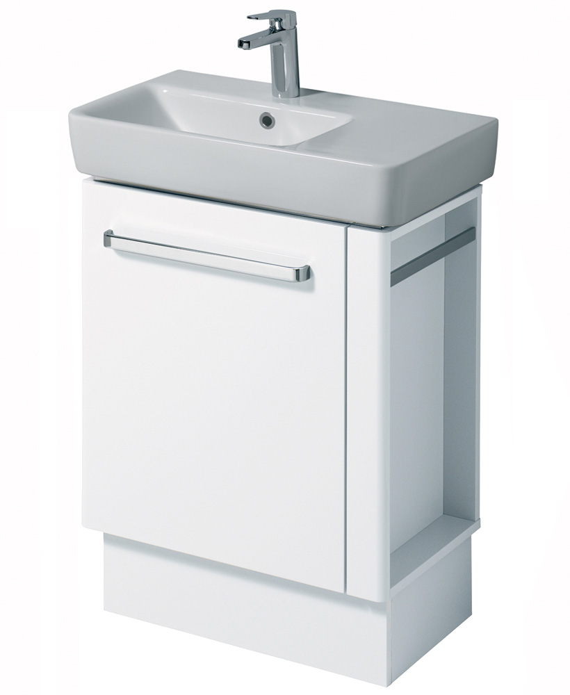 E200 650 White Vanity Unit Floor Standing with RH Towel Rail