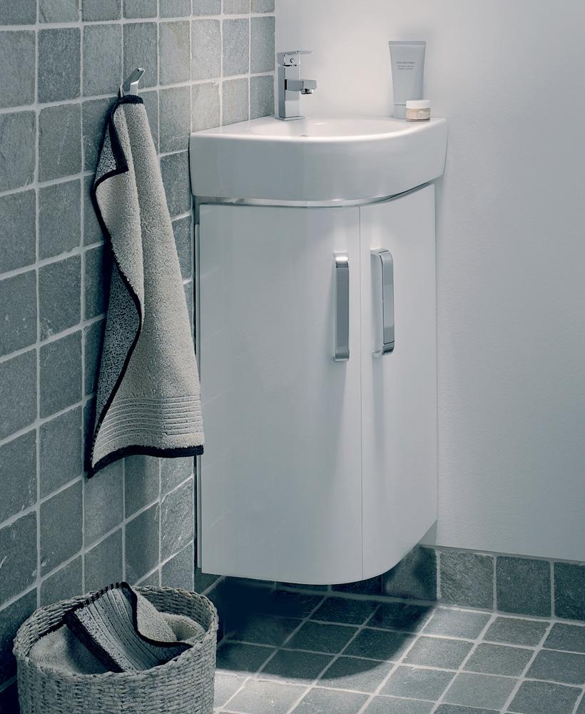 E200 320 White Corner Vanity Unit Wall Hung