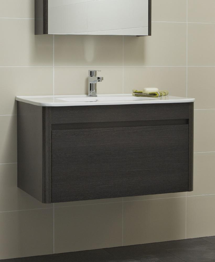 Ella 80cm Dark Wood Vanity Unit and Basin