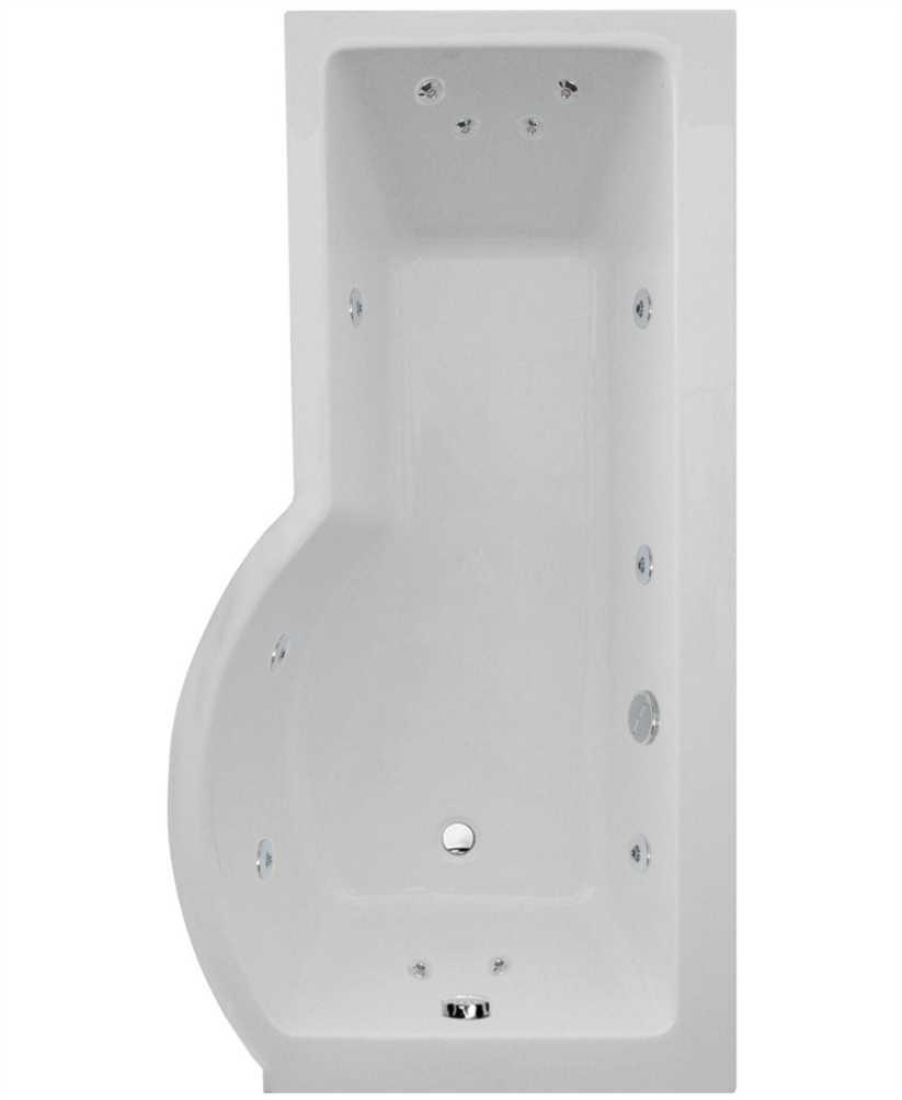Shaped 1700 x 900 shower bath Right hand 12 jet bath cw Panel & Bath ...