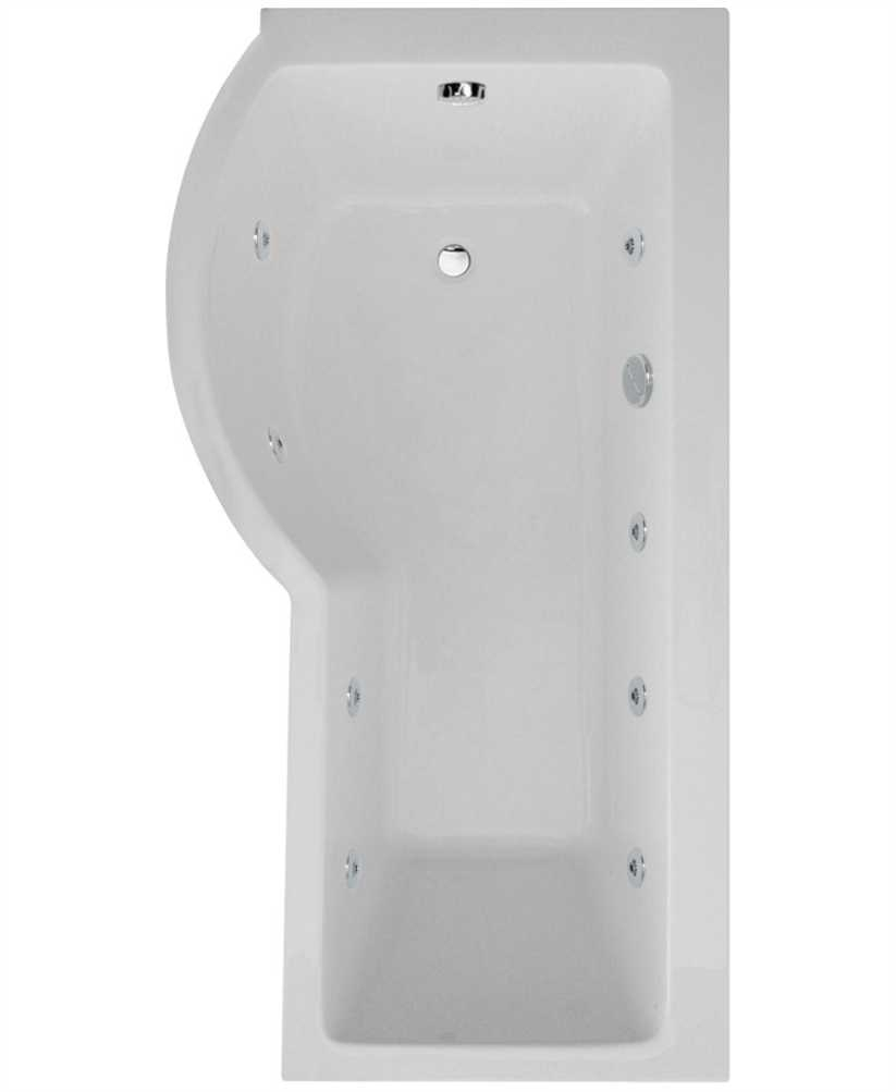 P Shaped 1700 x 900 shower bath Left hand 8 jet bath cw Panel & Bath