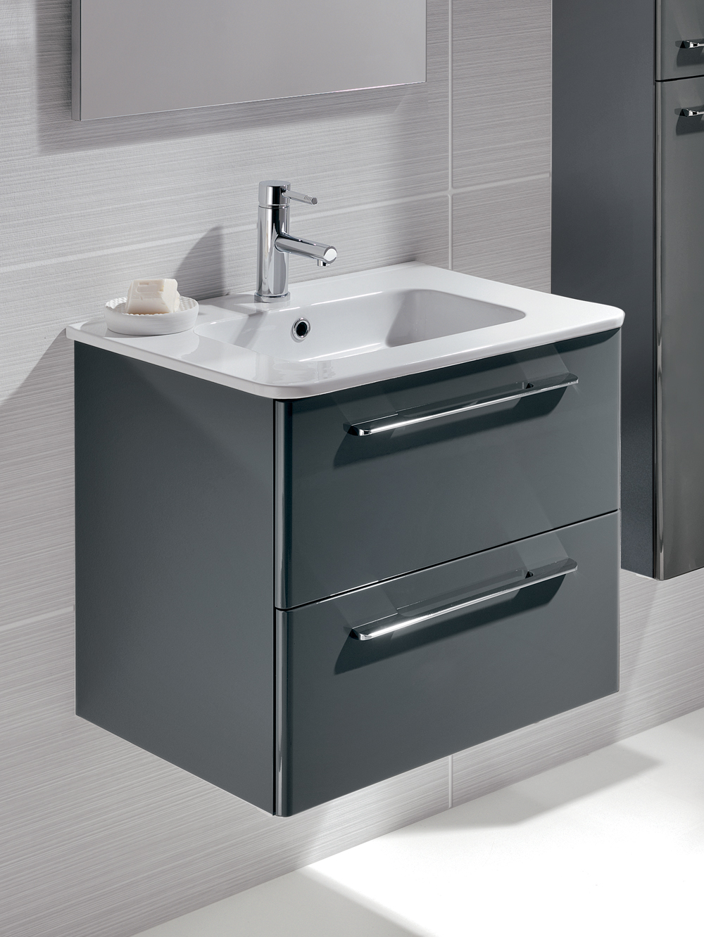 Mara Gloss Grey 60cm Vanity Unit 2 Drawer and Basin