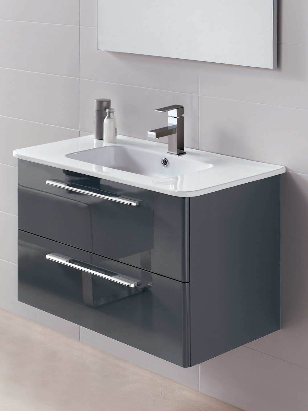Mara Gloss Grey 80cm Vanity Unit 2 Drawer and Basin