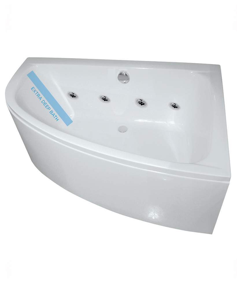 Maya Offset Corner 8 Jet Whirlpool Bath Right Hand with Bath Panel