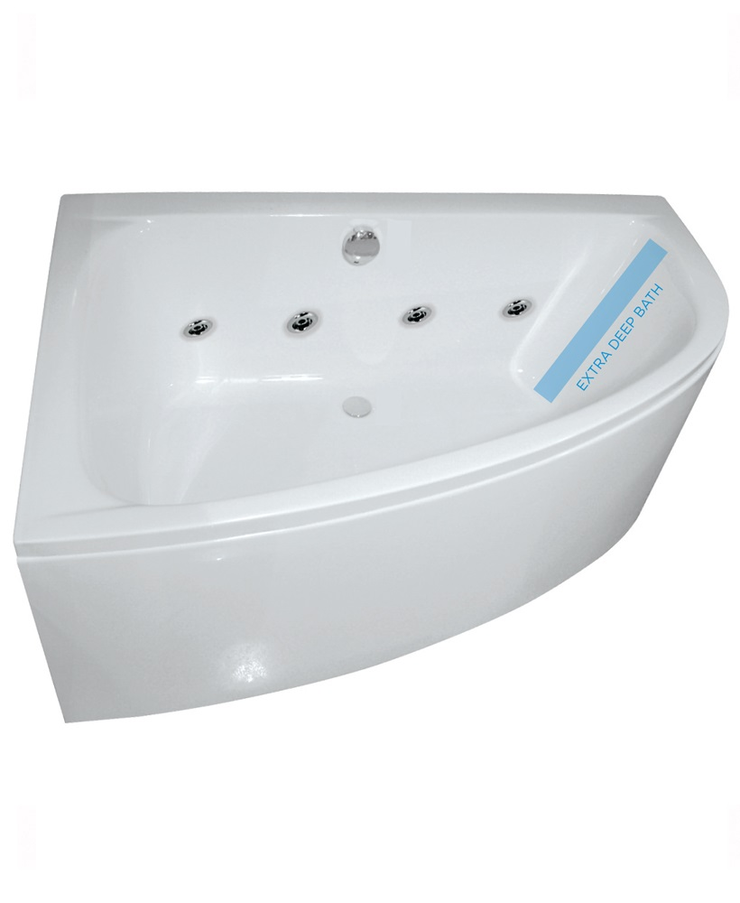 Maya 1500 Offset Corner 8 Jet Whirlpool Bath Left Hand with Bath Panel