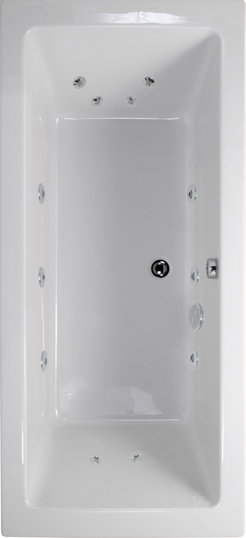 Plane 1800x800 Double Ended 12 Jet Whirlpool Bath - Extra Deep