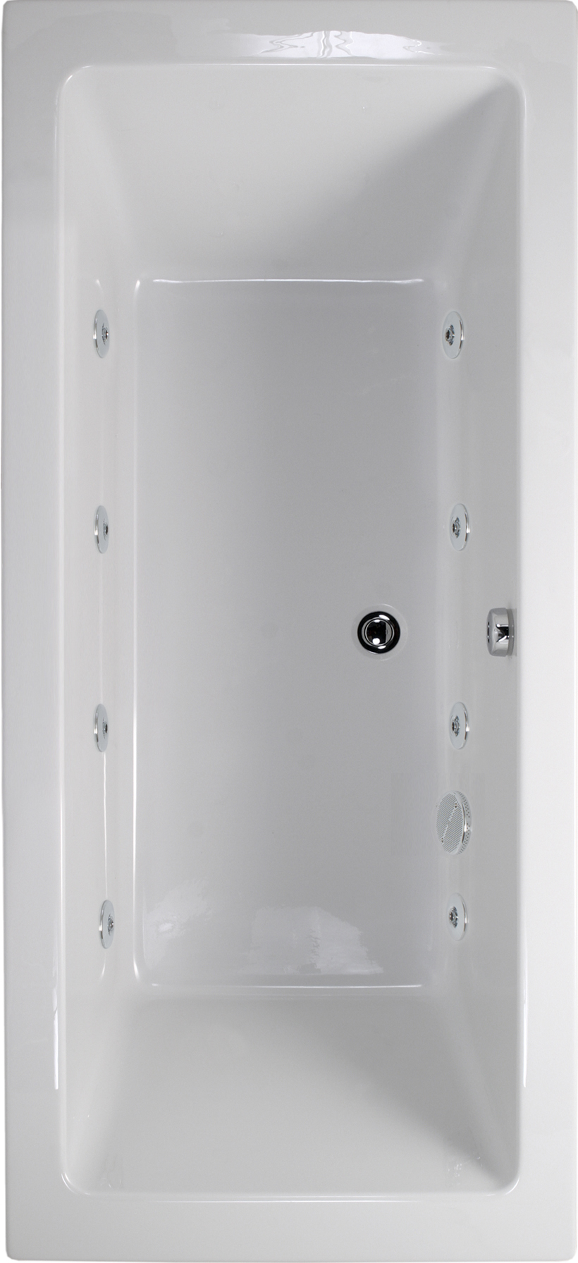 Plane 1600x700 Double Ended 8 Jet Whirlpool Bath - Extra Deep