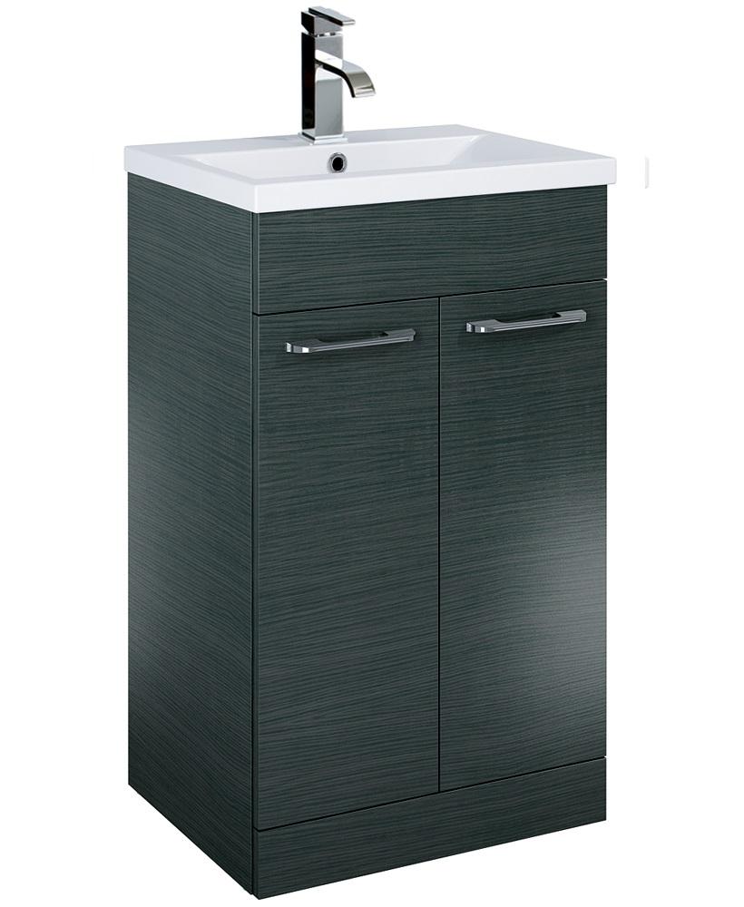 Otto Plus 50cm Slimline Vanity Unit 2 Door Grey and Basin