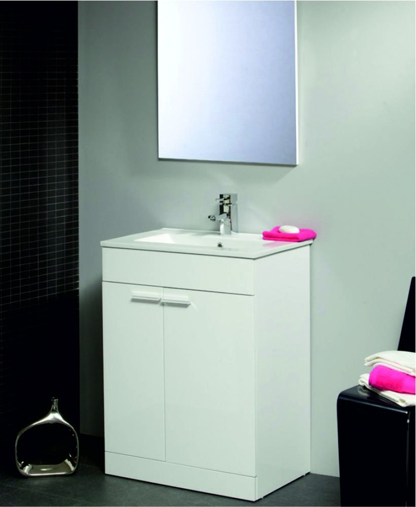 Spain 60cm White Vanity Unit and Mirror