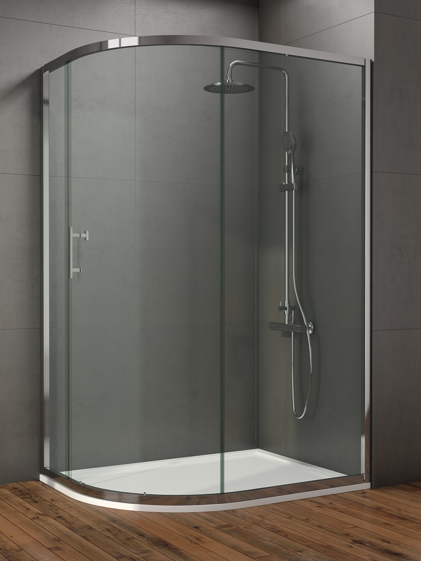 Style 900x800mm Single Door Offet Quadrant Enclosure  - Adjustment 900 - 800mm