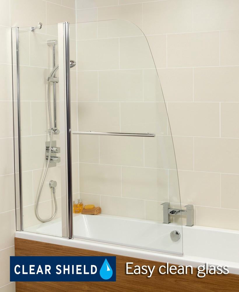 Two Panel Bathscreen with Towel Rail