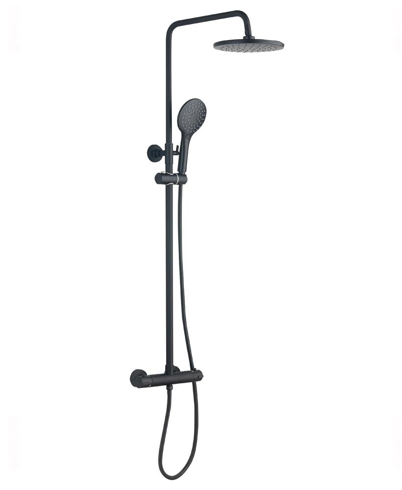 Nero Black Round Thermostatic Shower Kit
