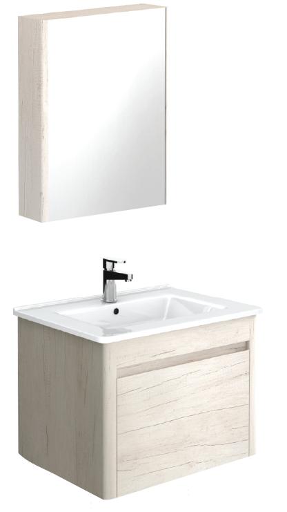 Ella 60 Light Wood Vanity Unit and 55 Mirror Cabinet - ** 50% Off While Stocks Last