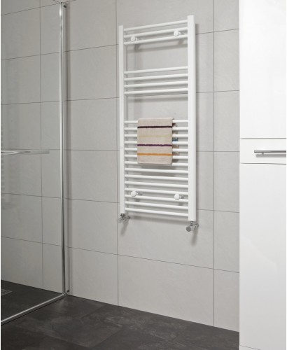 Straight 1200x600 Heated Towel Rail White - *Special Offer includes radiator valves