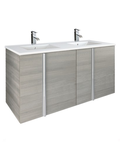 Avila Sandy Grey 4 Door 120cm Wall Hung Vanity Unit and Basin
