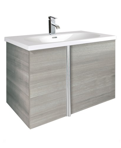 Avila Sandy Grey 2 Door 80cm Wall Hung Vanity Unit and Idea Basin