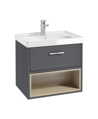 Malmo 60cm Single Drawer - Open Shelf Unit - Midnight Grey - Chrome Handle - Gloss Basin