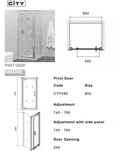 City 800 Pivot Shower Door Adjustment 740 790mm